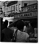New York Street Fair - Black And White Canvas Print
