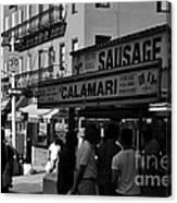 New York City Street Fair - Calamari Sausage - Black And White  Canvas Print