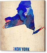 New York Watercolor Map Canvas Print