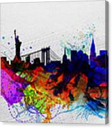 New York  Watercolor Skyline 1 Canvas Print