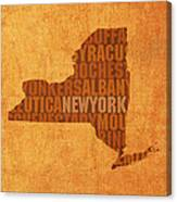 New York Word Art State Map On Canvas Canvas Print