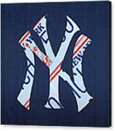 New York Yankees Baseball Team Vintage Logo Recycled Ny License Plate Art Canvas Print
