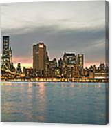 New York City - Brooklyn Bridge To Manhattan Bridge Panorama Canvas Print
