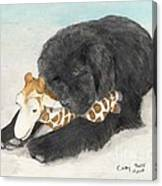 Newfoundland Dog In Snow Stuffed Animal Cathy Peek Art Canvas Print