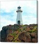 Lighthouse On Cliff Canvas Print