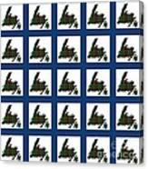 Newfoundland Tartan Map Blocks Blue Trim Canvas Print