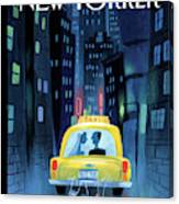Newlywed Couple In A Taxi Canvas Print