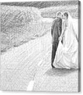 Newlyweds Walking Kissing Pencil Portrait Canvas Print