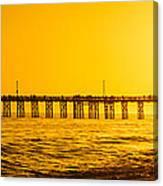 Newport Beach Pier Sunset Panoramic Photo Canvas Print