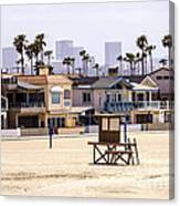 Newport Beach Skyline And Waterfront Luxury Homes Canvas Print