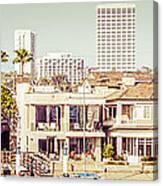 Newport Beach Skyline Vintage Panorama Canvas Print