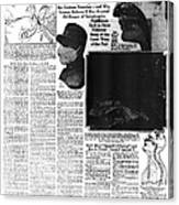 News Article, 1918 Influenza Pandemic Canvas Print