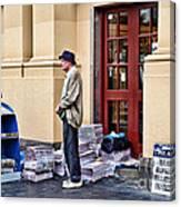 Newspaper Seller Canvas Print