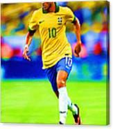 Neymar Soccer Football Art Portrait Painting Canvas Print