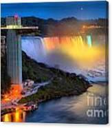 Niagara American Falls At Night Canvas Print