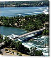 Niagara River And Goat Island Aerial View Canvas Print