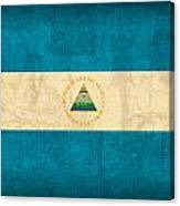 Nicaragua Flag Vintage Distressed Finish Canvas Print