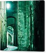 Night Alley In Old City Of Siena Tuscany Italy Canvas Print