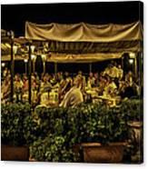 Night At The Cafe - Taormina - Italy Canvas Print