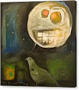 Night Bird Harvest Moon Canvas Print