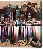Night City Reflections Watercolor Painting Canvas Print