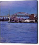 Night Descends Over The Triboro Bridge - Nyc Canvas Print