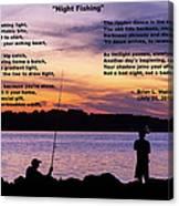 Night Fishing - Poem Canvas Print
