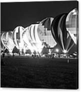 Night Glow Hot Air Balloons Bw Canvas Print