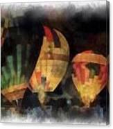 Night Glowing Hot Air Balloons Photo Art Canvas Print