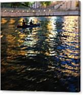 Night Kayak Ride Canvas Print