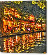 Night Life By The River Walk Canvas Print