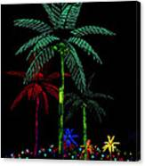 Night Lights Electric Palm Trees Canvas Print