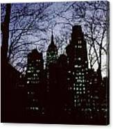 Night Lights Empire State Two Trees Canvas Print