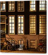 Night Lights In Amsterdam. Holland Canvas Print