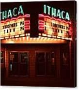 Night Lights Ithaca Theater Canvas Print