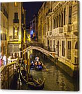 Night On The Canal - Venice - Italy Canvas Print