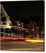 Night Scene At The Intersection Of Main Street And Schutstraat In Hoogeveen Canvas Print