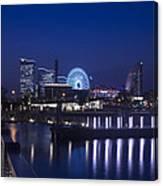 Night Scene In Blue Of Minatomirai In Yokohama Canvas Print
