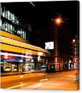 Night Scenery At The Crossroads - Bus Canvas Print