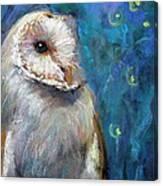 Night Snow Owl Canvas Print