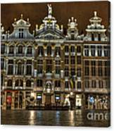 Night Time In Grand Place Canvas Print