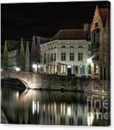 Night Time On The Canal Canvas Print