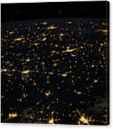 Night Time Satellite Image Of Cities Canvas Print