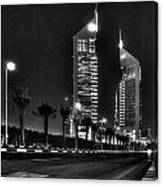 Night View Of Emirates Towers In Dubai Canvas Print