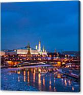 Night View Of Moscow Kremlin In Wintertime - Featured 3 Canvas Print
