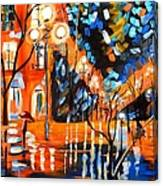Night Village Rain Canvas Print