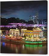 Nightlife At Clarke Quay Singapore Aerial Canvas Print