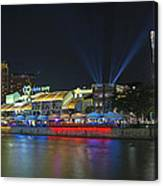 Nightlife At Clarke Quay Singapore Canvas Print