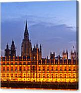 Nightly View London Houses Of Parliament Canvas Print