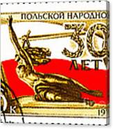 Nike Holding A Sword With The Polish Flag Behind Canvas Print